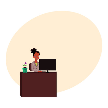 Black, African American businesswoman, secretary, working on computer at office table, cartoon vector illustration with space for text. Black businesswoman, secretary working on computer