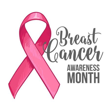 胸の癌意識月バナー、ポスター、手描きピンク リボンのテンプレート、ベクトル図をスケッチします。ピンクリボン、乳房癌意識月キャンペーン バ