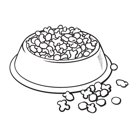 Blue shiny plastic bowl filled with dry pelleted food for pet, cat, dog, black and white sketch style vector illustration isolated on white background. Hand drawn bowl, plate filled with dry pet, dog