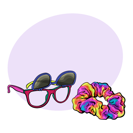 scrunchie: Personal items from 90s - wayfarer sunglasses with removable lenses and scrunchie hair tie, sketch vector illustration with space for text. Retro sunglasses and fabric covered hair band