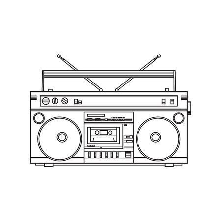 Antiguo, estilo retro grabadora de audio, ghetto boom cuadro de 90, ilustración vectorial de boceto aisladas sobre fondo blanco. Vista frontal de grabadora de mano grabado a mano, boom box
