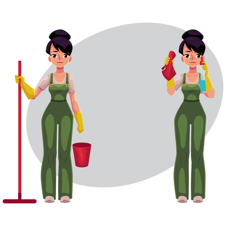 Cleaning service girl in overalls standing with mop and bucket, washing windows, cartoon vector illustration with space for text. Cleaning service girl holding mop and bucket, washing windows