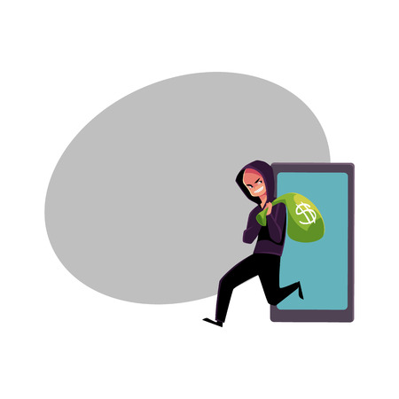 Hacker stealing money, cybercrime, Internet fraud, online scam, cartoon vector illustration with space for text. Cybercrime, Internet fraud illustrated as hacker running away with money bag