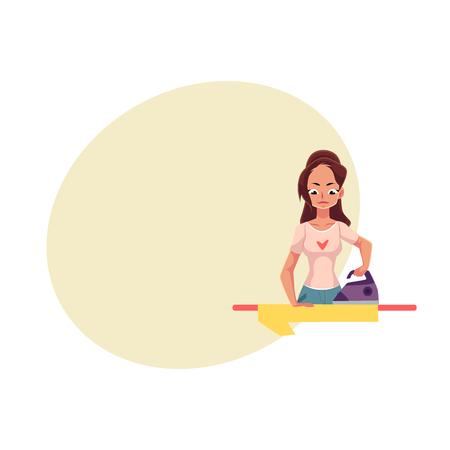 Vrij jonge vrouw, huisvrouw strijken linnen, shirt, cartoon vectorillustratie met ruimte voor tekst. Halve lengte, vooraanzicht portret van vrouw, meisje met strijkijzer en strijkplank