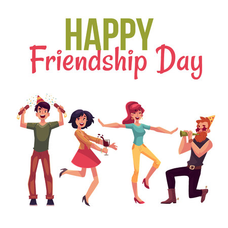 Happy friendship day greeting card design with friends having fun at a party, cartoon vector illustration isolated on white background. Boys and girls dancing, popping party poppers, blowing horns