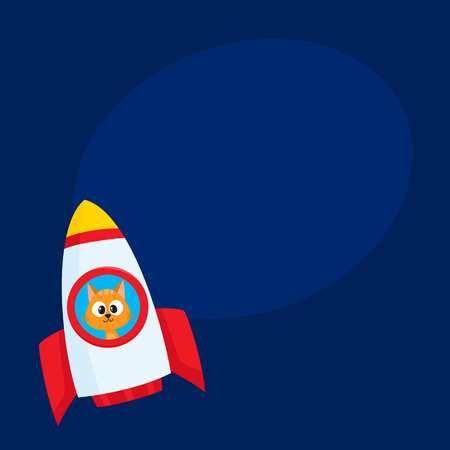 Cute little cat, kitten astronaut, spaceman character flying in rocket, cartoon vector illustration with space for text. Baby cat, kitten astronaut, spaceman in rocket, space adventure