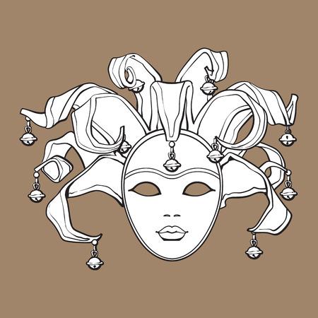 Versierde Venetiaanse carnaval, nar masker met belletjes en glitter, schets stijl vectorillustratie geïsoleerd op bruine achtergrond. Realistische handtekening van Carnaval, Venetiaans masker met klokken