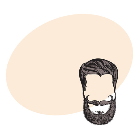 Hand drawn hipster hairstyle, beard and mustache, sketch style vector illustration with space for text. Hand drawing of hipster hair, beard and whiskers, logo design Illustration