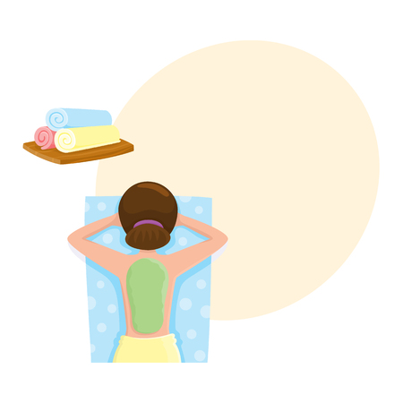 Young woman getting algae mask, mud treatment in spa salon, top view cartoon vector illustration with space for text. Top view picture of woman getting mud, algae mask on her back in spa salon Stock fotó