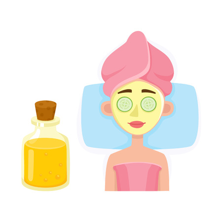 Young woman getting facial mask in spa salon, top view cartoon vector illustration on white background. Top view picture of woman getting facial mask in spa salon, lying with cucumber slices on eyes Illustration