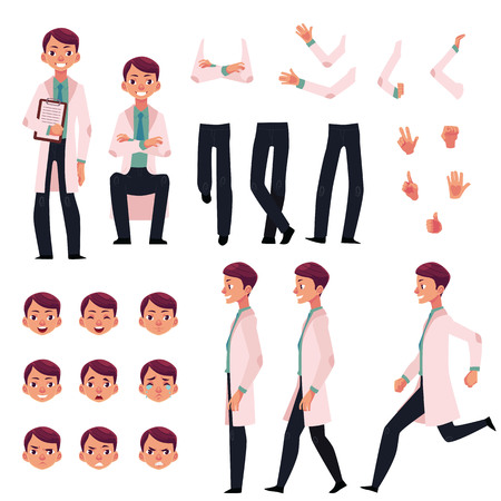 Doctor character creation set with different poses, gestures, faces, cartoon vector illustration on white background. Doctor, man in white coat creation set, constructor, changeable face, legs, arms