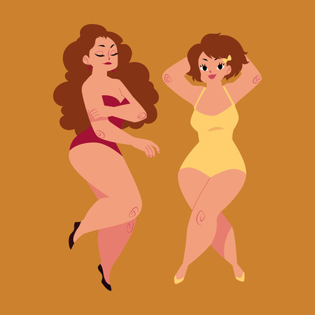plump, curvy women, girls, plus size models in swimming suits, top view cartoon vector illustration isolated on brown background. Beautiful plump, overweight women, girls in swimming suits