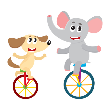 Cute little dog, puppy and elephant characters riding bicycles, unicycles, cartoon vector illustration isolated on white background. Baby dog, puppy and elephant characters riding bicycle, unicycle Иллюстрация