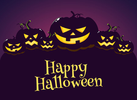 Happy Halloween greeting card, poster, banner design with dark pumpkin in night, cartoon vector illustration. Halloween greeting cardwith grim pumpkin Çizim