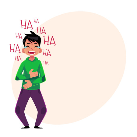 Young man laughing out loud, crying from laughter holding stomach, cartoon vector illustration with space for text. Full length portrait of young man bursting with laughter, laughing to tears Illustration