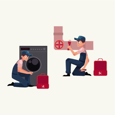 Spécialiste de la plomberie au travail, réparation des tuyaux d'égout, machine à laver, illustration de vecteur de dessin animé isolé sur fond blanc. Plombier, plomberie, réparateur au travail, réparation, réparation