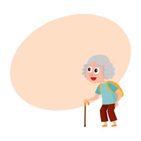 古い、シニア女性、バックパックと休暇旅行、テキスト用のスペースと漫画ベクトル図にスティック観光。老婦人、観光ツアーに女性観光客の完全