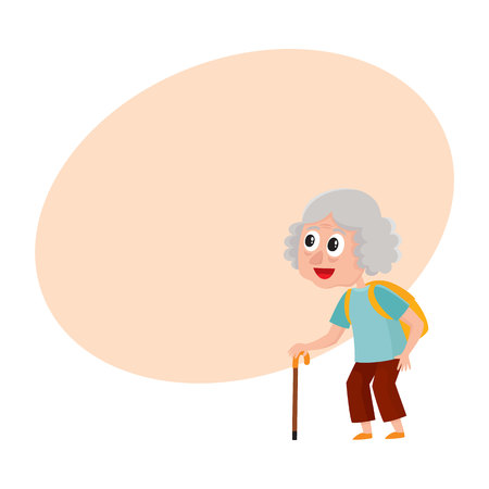 Old, senior woman, tourist with backpack and stick on vacation tour, cartoon vector illustration with space for text. Full length portrait of old lady, woman tourist on sightseeing tour
