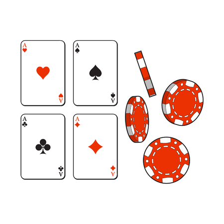 Set of heart, spade, clubs, diamond ace playing cards and gambling chips, sketch vector illustration isolated on white background. Gambling chips and playing cards, casino symbols