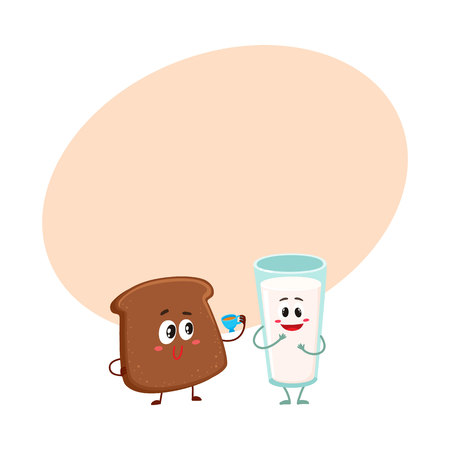 Funny dark, brown bread slice and milk glass characters, breakfast combination, cartoon vector illustration with space for text. Brown bread slice and glass of milk characters, mascots Stok Fotoğraf
