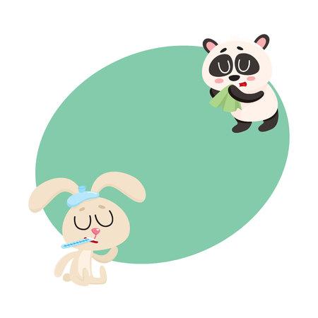 Ziek baby konijn en panda dragen met koude, griep, loopneus, cartoon vectorillustratie met ruimte voor tekst.