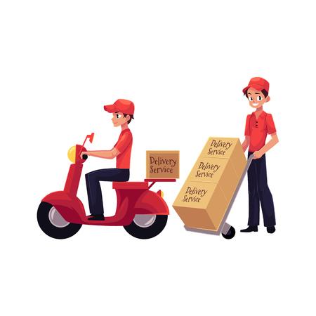 Koerier, leveringsdienst werker rijden scooter, duwen dolly, hand karretje met dozen, cartoon vector illustratie geïsoleerd op een witte achtergrond. Volledig lengte portret van jonge leveringsdienst man Stock Illustratie