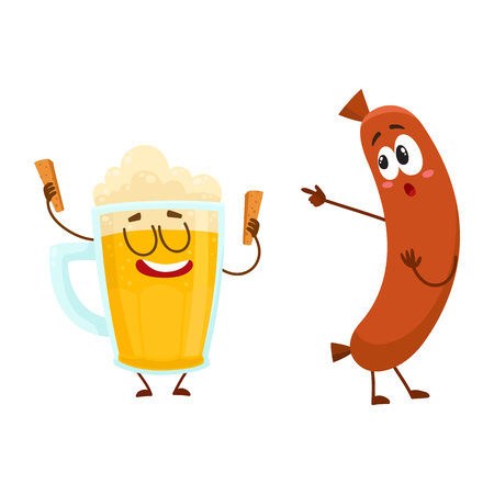 Funny beer glass and frankfurter sausage characters having fun together, cartoon vector illustration isolated on white background. Funny smiling beer glass character and sausage poiting to it 向量圖像