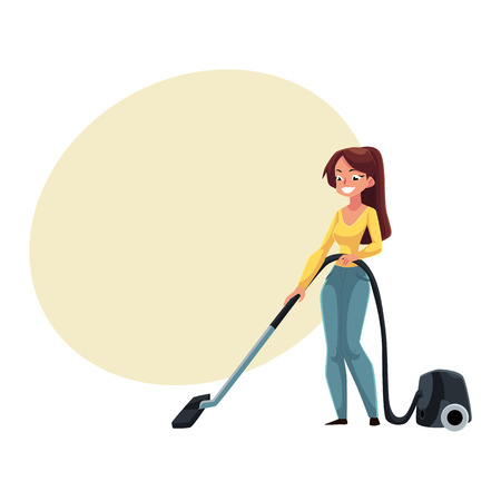 Pretty young woman, housewife cleaning house with vacuum cleaner, cartoon vector illustration with space for text. Full length portrait of woman, girl with vacuum cleaner doing housework