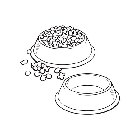 Two shiny plastic bowls, one empty, another filled with dry pet, cat, dog food, black and white sketch style vector illustration isolated on white background.