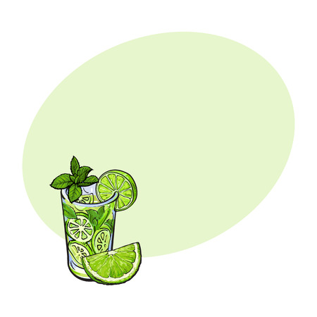Lime quarter, piece and glass of freshly squeezed juice, mojito, cocktail with ice and mint, sketch vector illustration with space for text. Hand drawn glass of lime juice and lime quarter