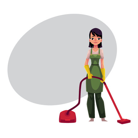 Cleaning service girl, charwoman in overalls standing with vacuum cleaner, cartoon vector illustration with space for text. Cleaning service girl wearing uniform, using vacuum cleaner Illustration