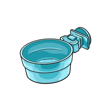 Attachable plastic pet, cat, dog bowl for kennels and crates, sketch style vector illustration isolated on white background. Hand drawn plastic bowl for feeding pets, cat dogs with attachment bracket Illustration