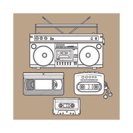 walkman: Retro style audio cassette, tape recorder, music player and videotape from 90s, sketch illustration isolated on brown background. Hand drawn set of tape recorder, audio and video tape, music player