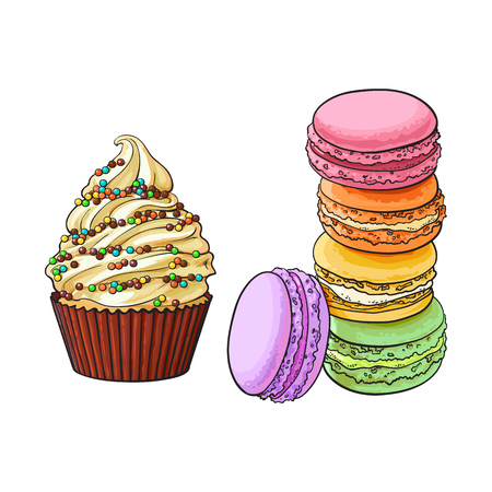 Hand drawn desserts - cupcake and stack of colorful macaron, macaroon cakes, sketch vector illustration isolated on white background. Realistic hand drawing of cupcake and macaron, macaroon biscuits