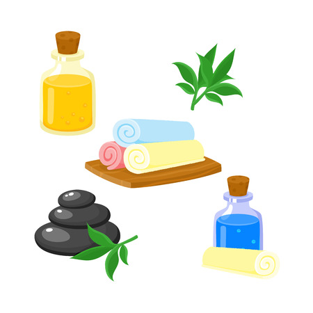 Set of spa salon accessories - hot stones, massage oil, rolled up towels, cartoon vector illustration on white background. Hot stones, massage oil, rolled up towels, cartoon style illustrations