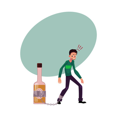 Unshaven man standing with leg chained to bottle of liquor, alcohol dependence, cartoon vector illustration with space for text. Man with arm, foot chained to bottle of alcohol liquor booze