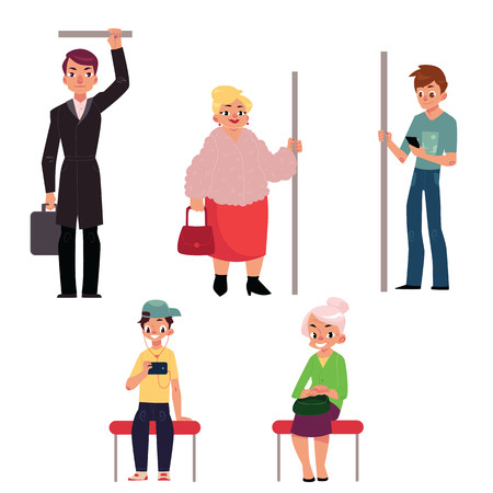 앉아서 지하철 기차, 흰색 배경에 고립 된 만화 벡터 일러스트 레이 션에 서있는 사람들의 집합입니다. 지하철, 지하철에 앉아서 서있는 사람, 남성과