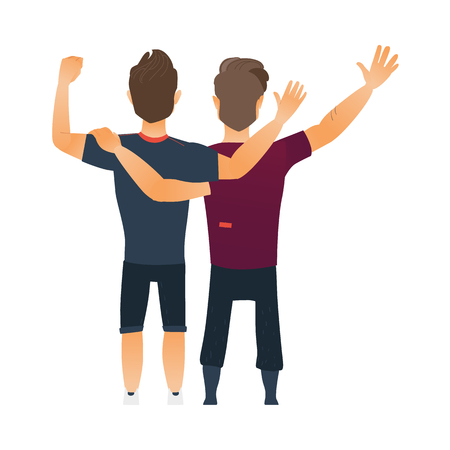 backview: Male friendship - two boys, men, friends hugging each others, waving, cartoon vector illustration isolated on white background. Back view portrait of boys, men, friends standing, hugging each other