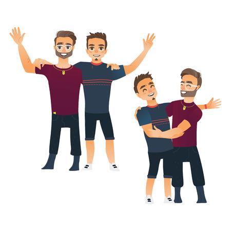 Mannelijk vriendschapsconcept twee paar jongens, mannen, beste vrienden die elkaar koesteren, beeldverhaal vectordieillustratie op witte achtergrond wordt geïsoleerd. Jongens, mannen, vrienden staan ??en knuffelen elkaar Stock Illustratie