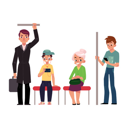 People, young and old, sitting and standing in subway train, cartoon vector illustration isolated on white background. Full length portrait of people, men and women, sitting and standing in subway