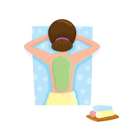 若い女性が藻マスク、泥治療スパ サロン、白い背景の上トップ漫画ベクトル図での取得します。泥、藻マスク スパのサロンに彼女の背中に女性の上