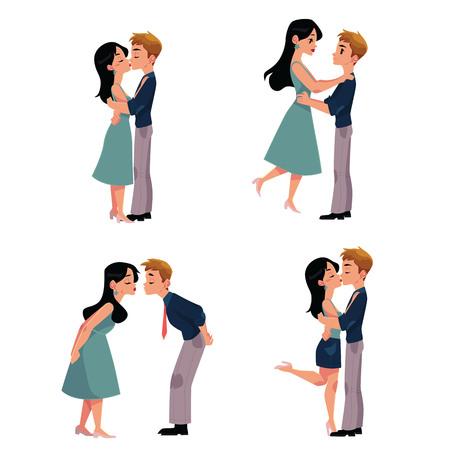 若いカップル、男性、女性、男の子と女の子のロマンチックなキスのセット、白い背景上漫画のベクトル図に分離。4 カップルがキス、恋愛関係、出