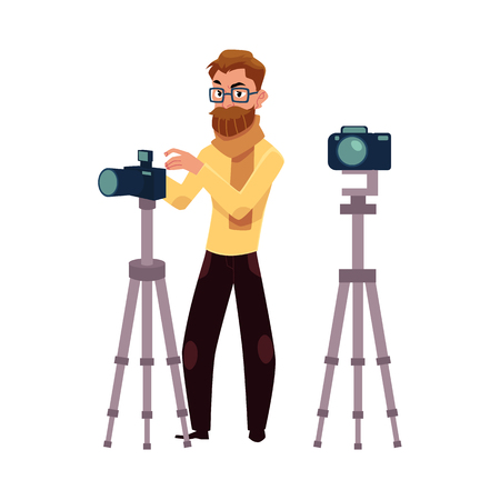 Photographer taking pictures, shooting in studio, using digital camera and tripod, cartoon vector illustration on white background. Full length portrait of professional photographer working in studio Çizim