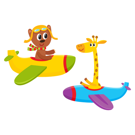 Cute funny animal pilot characters flying on airplane - bear and giraffe, cartoon vector illustration isolated on white background. Little baby bear and giraffe characters flying on airplane Illusztráció