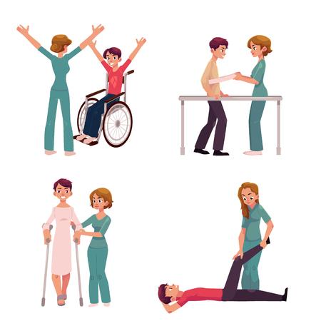 Riabilitazione medica, attività di terapia fisica, fisioterapista che lavora con i pazienti, illustrazione vettoriale cartoon su sfondo bianco. Riabilitazione medica, terapia fisica, infermiera, pazienti Vettoriali
