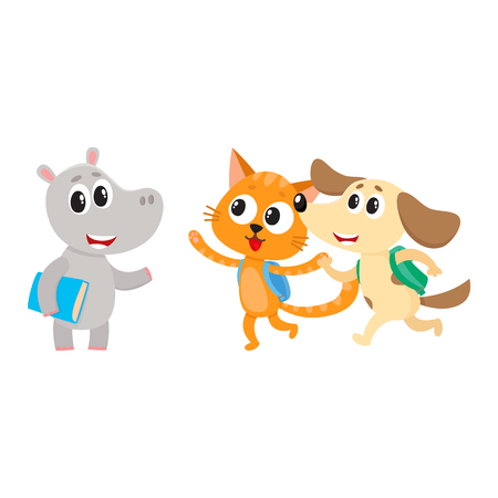 Cute animal student characters, hippo meeting cat and dog hurrying to school, cartoon vector illustration isolated on white background. Little animal student characters, back to school concept