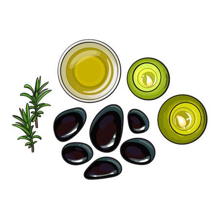 Set of spa salon accessories - basalt stones, massage oil, candles sketch vector illustration on white background. Spa set - stones, massage oil, candles