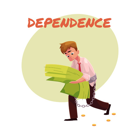 Financial dependence poster, banner template with man carrying heavy bundle of banknotes in hands, financial, money dependence, cartoon vector illustration isolated on white background.