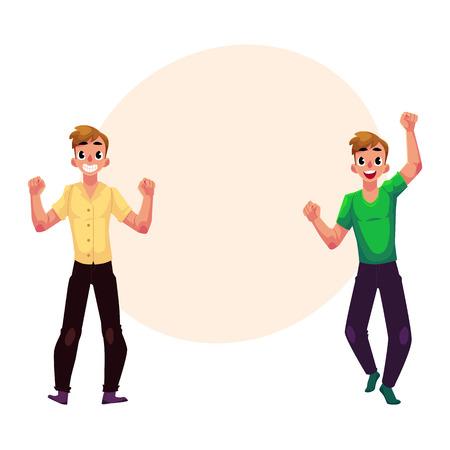 Twee mannen, jongens, vrienden vreugde, juichen, vieren, balde vuisten in opwinding, cartoon vector illustratie met ruimte voor tekst. Volledig lengteportret van gelukkige zich verheffende jonge mensen