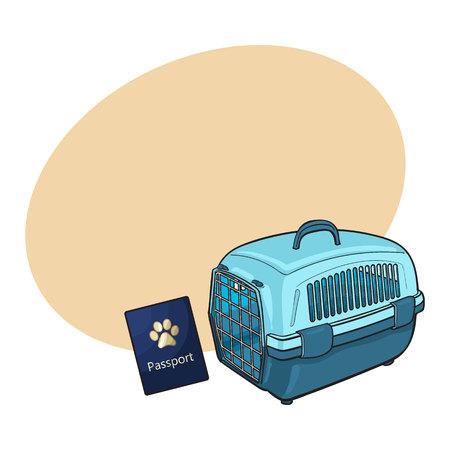 Reizen met katten, honden - plastic drager en huisdier paspoort, schets vector illustratie met ruimte voor tekst. Met de hand getekende plastic pet carrier en paspoort, ID om te reizen met katten en honden